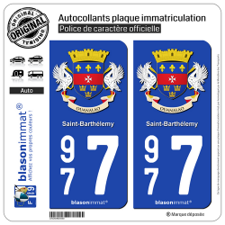 2 Autocollants plaque immatriculation Auto 977 Saint-Barthélemy - Armoiries