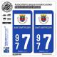 2 Autocollants plaque immatriculation Auto 977 Saint-Barthélemy - Drapeau