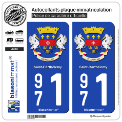 2 Autocollants plaque immatriculation Auto 971 Saint-Barthélemy - Armoiries