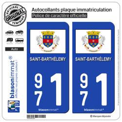 2 Autocollants plaque immatriculation Auto 971 Saint-Barthélemy - Drapeau