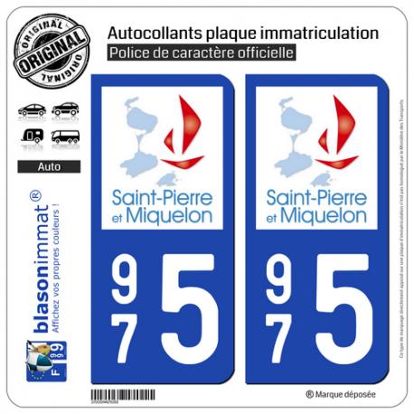 2 Autocollants immatriculation Auto 975 Saint-Pierre-et-Miquelon - Collectivité