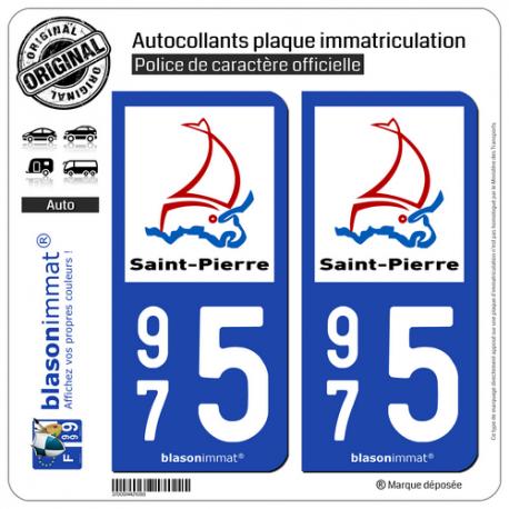 2 Autocollants plaque immatriculation Auto 975 Saint-Pierre - Ville