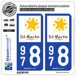 2 Autocollants plaque immatriculation Auto 978 Saint-Martin - Tourisme