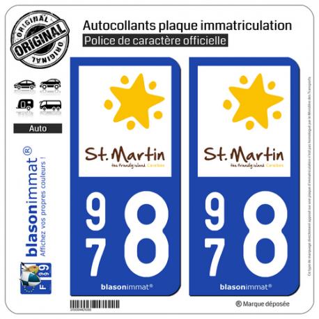 2 Autocollants plaque immatriculation Auto 978 Saint-Martin - Tourisme