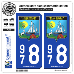 2 Autocollants plaque immatriculation Auto 978 Saint-Martin - Armoiries