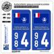 2 Autocollants plaque immatriculation Auto 984 TAAF - Drapeau