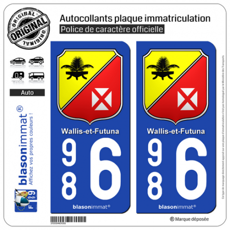 2 Autocollants plaque immatriculation Auto 986 Wallis-et-Futuna - Collector