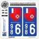 2 Autocollants plaque immatriculation Auto 986 Wallis-et-Futuna - Armoiries