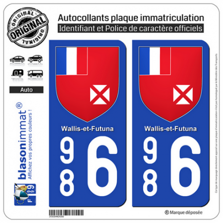 2 Autocollants plaque immatriculation Auto 986 Wallis-et-Futuna - Armoiries