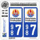 2 Autocollants immatriculation Auto 987 Polynésie Francaise - Collectivité