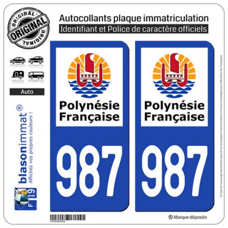 2 Autocollants immatriculation Auto 987-H Polynésie Francaise - Collectivité