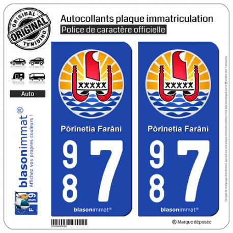 2 Autocollants plaque immatriculation Auto 987 Polynésie Française - Armoiries