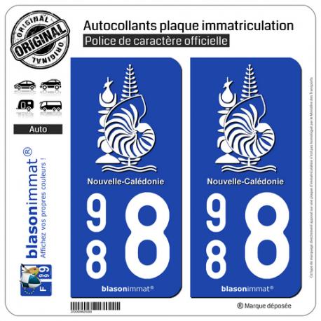2 Autocollants immatriculation Auto 988 Nouvelle-Calédonie - Armoiries