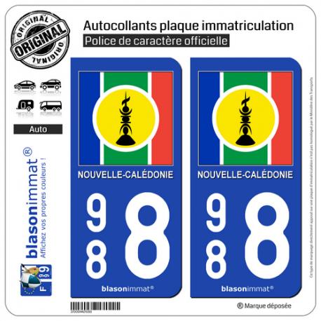 2 Autocollants plaque immatriculation Auto 988 Nouvelle-Calédonie - Drapeau