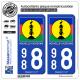 2 Autocollants immatriculation Auto 988 Nouvelle-Calédonie - Drapeau Kanaky