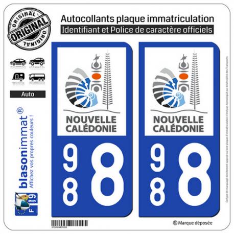2 Autocollants immatriculation Auto 988 Nouvelle-Calédonie - Gouvernement