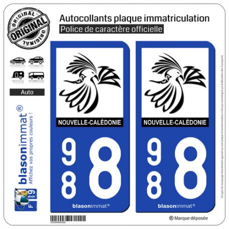 2 Autocollants plaque immatriculation Auto 988 Nouvelle-Calédonie - Le Cagou