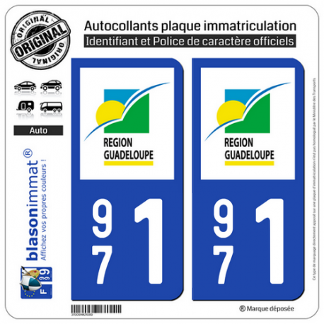 2 Autocollants plaque immatriculation Auto 971 Guadeloupe - LogoType