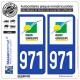 2 Autocollants plaque immatriculation Auto 971-H Guadeloupe - LogoType
