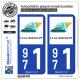 2 Autocollants plaque immatriculation Auto 971 Guadeloupe - Département