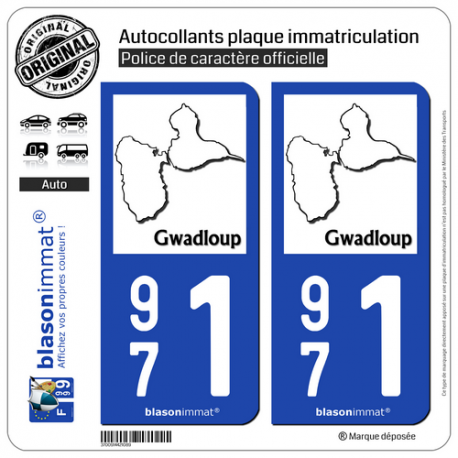2 Autocollants plaque immatriculation Auto 971 Gwadloup - Carte