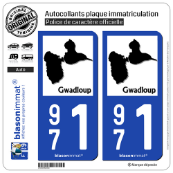 2 Autocollants plaque immatriculation Auto 971 Gwadloup - Carte II