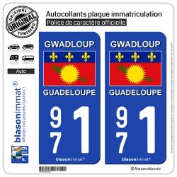 2 Autocollants plaque immatriculation Auto 971 Guadeloupe - Drapeau