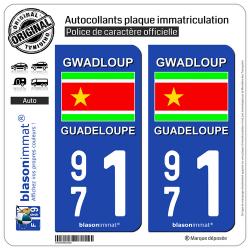 2 Autocollants immatriculation Auto 971 Guadeloupe - Drapeau Indépendantiste