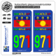 2 Autocollants plaque immatriculation Auto 971 Guadeloupe - VJR Drapeau