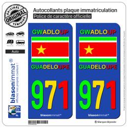 2 Autocollants immatriculation Auto 971 Guadeloupe - VJR Drapeau Indépendantiste