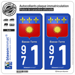 2 Autocollants plaque immatriculation Auto 971 Basse-Terre - Armoiries