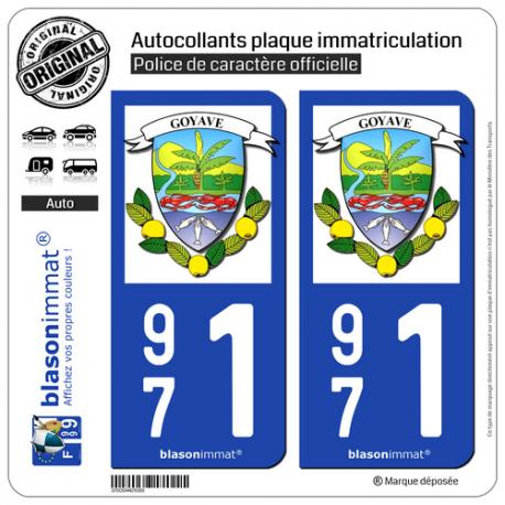 2 Autocollants plaque immatriculation Auto 971 Goyave - Armoiries