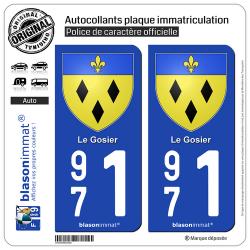 2 Autocollants plaque immatriculation Auto 971 Le Gosier - Armoiries