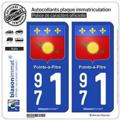 2 Autocollants plaque immatriculation Auto 971 Pointe-à-Pitre - Armoiries