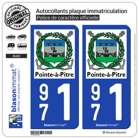 2 Autocollants plaque immatriculation Auto 971 Pointe-à-Pitre - Ville