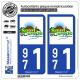 2 Autocollants plaque immatriculation Auto 971 Saint-Claude - Ville