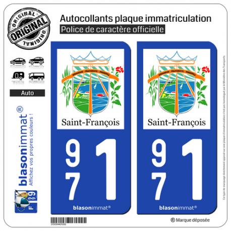2 Autocollants plaque immatriculation Auto 971 Saint-François - Ville