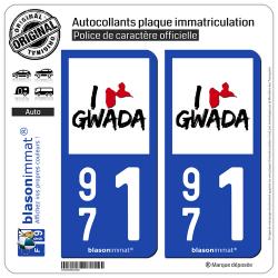 2 Autocollants plaque immatriculation Auto 971 Guadeloupe - I'm Gwada