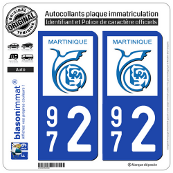 2 Autocollants plaque immatriculation Auto 972 Martinique - LogoType