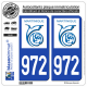 2 Autocollants plaque immatriculation Auto 972-H Martinique - LogoType