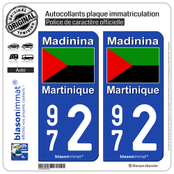 2 Autocollants plaque immatriculation Auto 972 Martinique - Drapeau Nationaliste