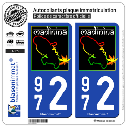 2 Autocollants plaque immatriculation Auto 972 Martinique - Madinina