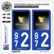 2 Autocollants plaque immatriculation Auto 972 Madinina - Esprit Caraïbes