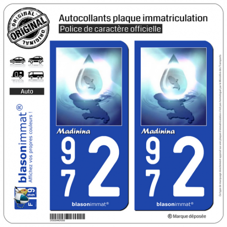 2 Autocollants plaque immatriculation Auto 972 Madinina - Version Vista