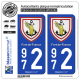 2 Autocollants plaque immatriculation Auto 972 Fort-de-France - Armoiries