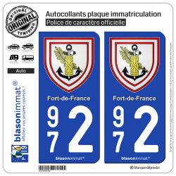 2 Autocollants plaque immatriculation Auto 972 Fort-de-France - Armoiries