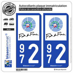 2 Autocollants plaque immatriculation Auto 972 Fort-de-France - Ville