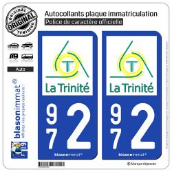 2 Autocollants plaque immatriculation Auto 972 La Trinité - Ville