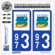 2 Autocollants plaque immatriculation Auto 973 Guyane - LogoType