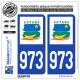 2 Autocollants plaque immatriculation Auto 973-H Guyane - LogoType